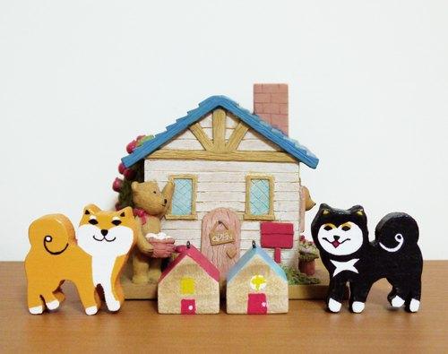 手作木工-可愛柴犬磁鐵(1組2入)