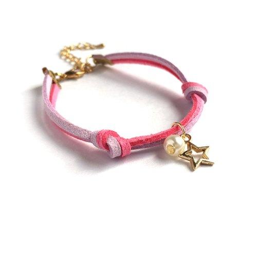 小星星 圣诞节限定 手工制作 手环 淡金色系列-紫 粉