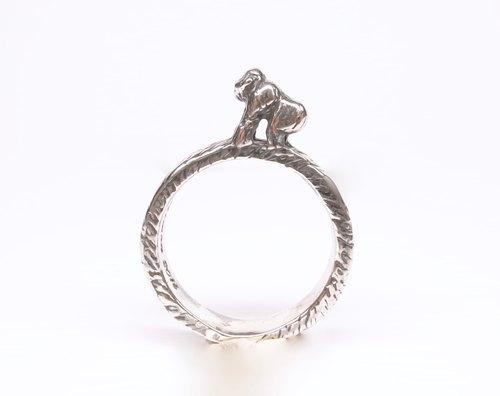 《二毛银》【指上风景—大猩猩纯银戒指】