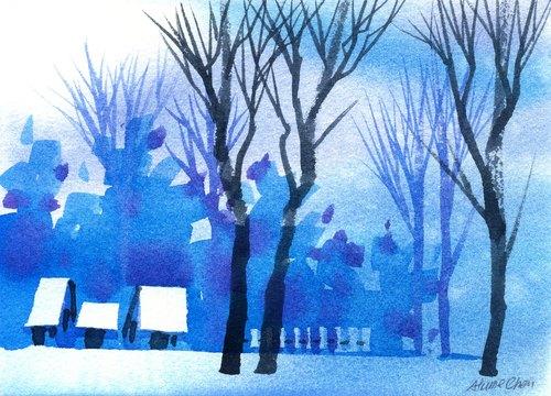「疗愈系树林系列b-2」水彩手绘限量版明信片/圣诞卡