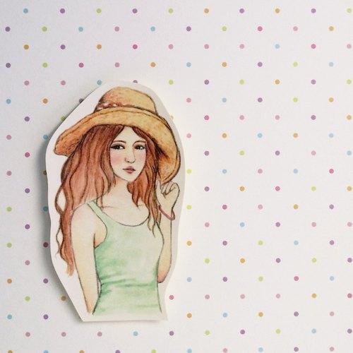 ✦浪漫草帽女孩 / 半身單張貼紙