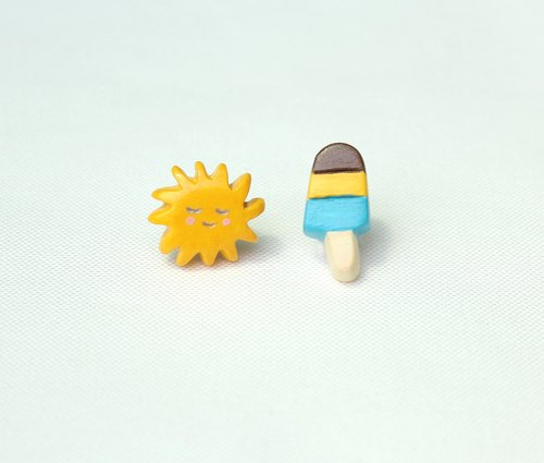 Handmade sun &  popsicle  earrings