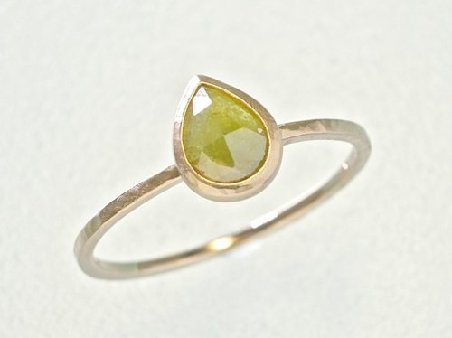 "Japan Quality | 0.45 cct Natural Diamond Stacking Ring ""Kiwi"" 14K PG"
