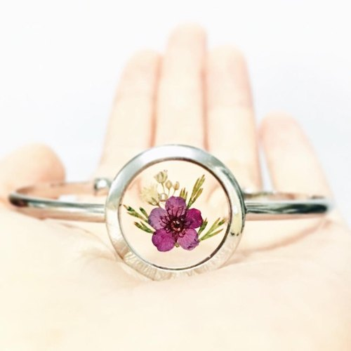 透明押花手鐲 (Silver Framed Bangle)