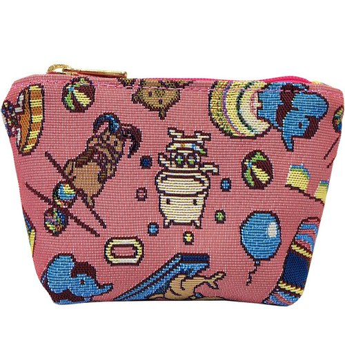 Videos jacquard woven purse happy mini circus (Pink) Pink
