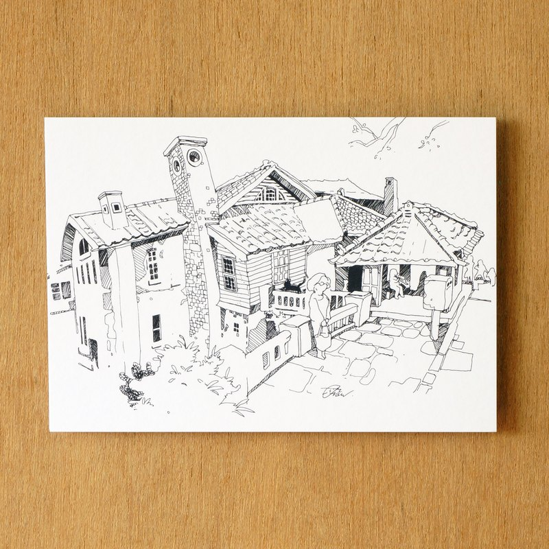 """One color"" series of hand-painted postcard 『 Taiwan ‧ Beitou Hot Spring Museum』"
