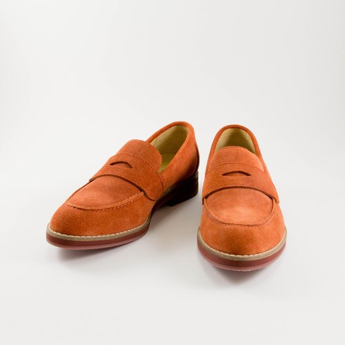LANEY/Brick Orange Cow Suede/Loafer Shoes
