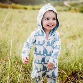 MILKBARN Hooded Long Sleeve Organic Cotton Jumpsuit - Double Colors
