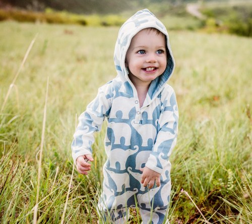 MILKBARN hooded long sleeve organic cotton jumpsuit - inside and outside the two-color shape