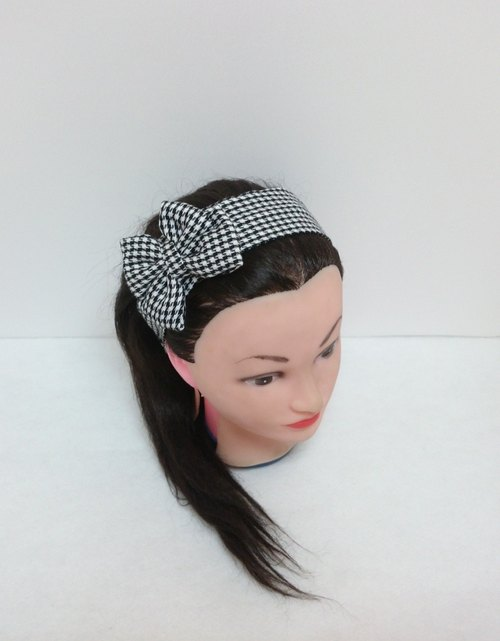 Black and white houndstooth double bow headband