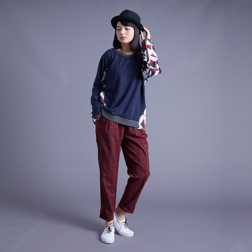 Hong Kong Design retro plaid pants - red