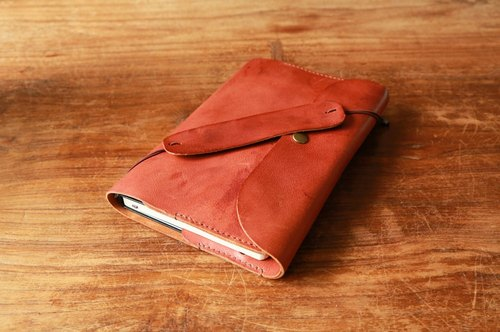 Natural milled leather slipcase / book holder, Ipad MINI sets, sew slipcase / book holder can be customized size