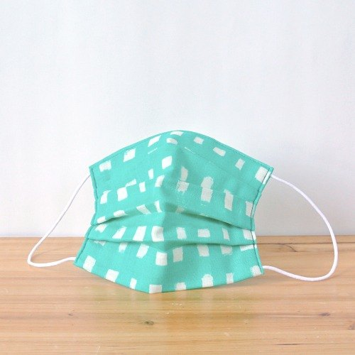 TEMARIYA | handmade mask Handwriting-like Gingham lightseagreen | Small gift