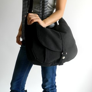 Cross body messenger bag, canvas diaper bag , school bag- no.12 KYLIE in black