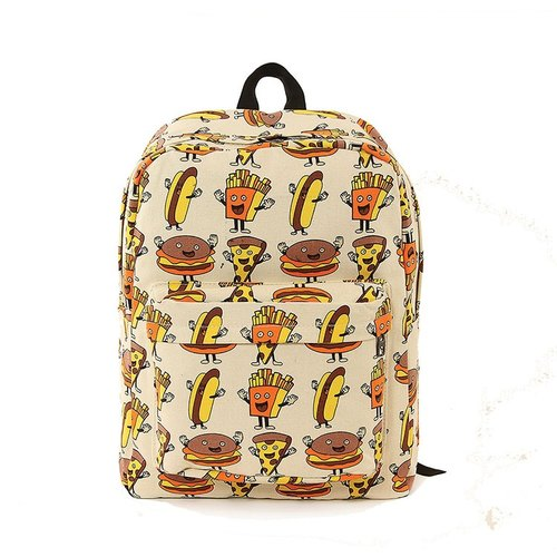 Sleepyville Critters American design cool music village - the joy of four brothers (burger / pizza / fries / hot dogs) canvas Backpack 85158CN