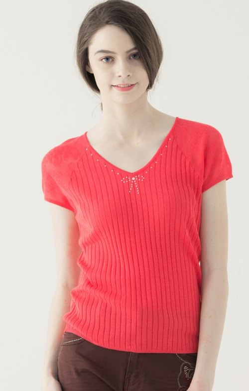 [KIINO] was thin striped V-neck sweater organization --1851-1386 Rose