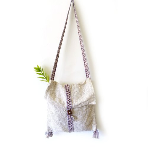 BajuTua / vintage / beige wool purple ribbon side backpack
