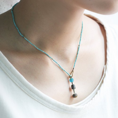 Turquoise beaded necklace Roman glass