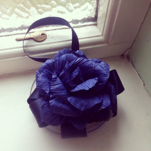 Victoria paragraph retro handmade paper rose strap - dark blue purple