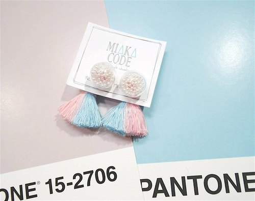 12mm Glass bubble pearls earrings/ear-clips with Pink+blue tassels