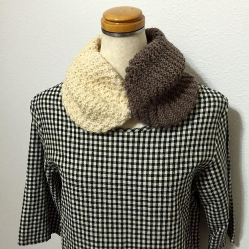 Bi-color of neck warmer off-white × Brown