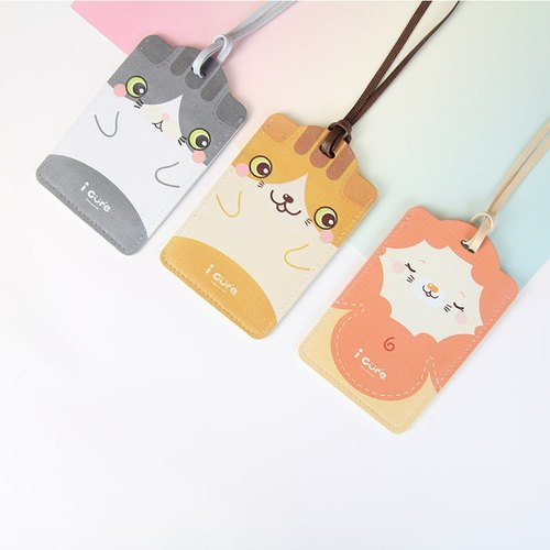 i Card Multipoint Card Set - Cat & Lion (3pcs) Baggage Coupon Tag Tag Strap Animal Card Holder