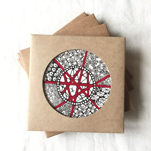 Ceramic Tangles Coaster/ Hand Drawing/ Specialty Red Directions