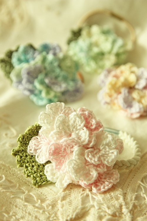 Hydrangea Hydrangea pink Japanese cotton hair circle hair bundles interchangeable elastic hair jewelry