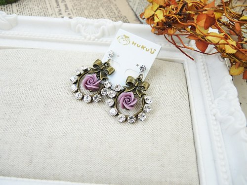 Retro Rose butterfly earrings