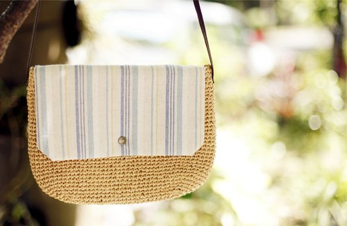 [Good day] summer handmade cloth cover woven shoulder bag (stripes)