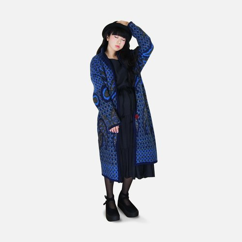 A PRANK DOLLY - VINTAGE retro blue can with stand-up collar / lapel exquisite full-length version of the weave mohair sweater coat