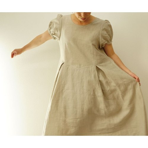 [Wafu] Long Length Belgian linen 100% puff sleeve back Ribbon dress / linen natural