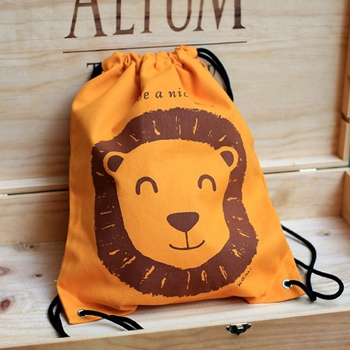 Beam port Drawstring Backpack | Lions cotton cloth backpack