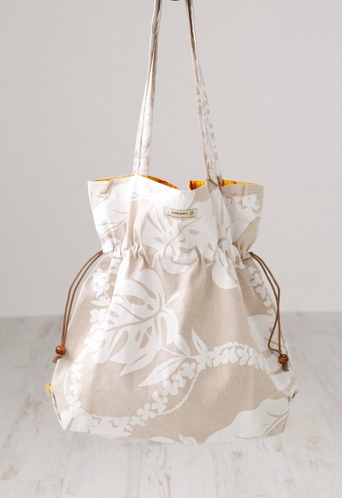 Big Tote Bag~White leaf~strong, ecology and luxurious material