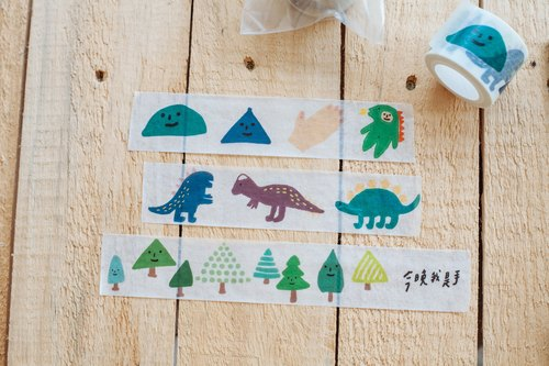 Tonight I hand - painted paper tape and / geometric trees dinosaur friends (Wide 3cm) Shelf