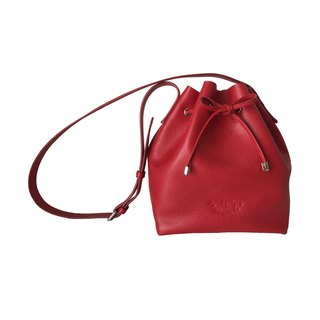 Classic Bucket 'S' Red Women Shoulder Leather Bag And Cross Body Bag