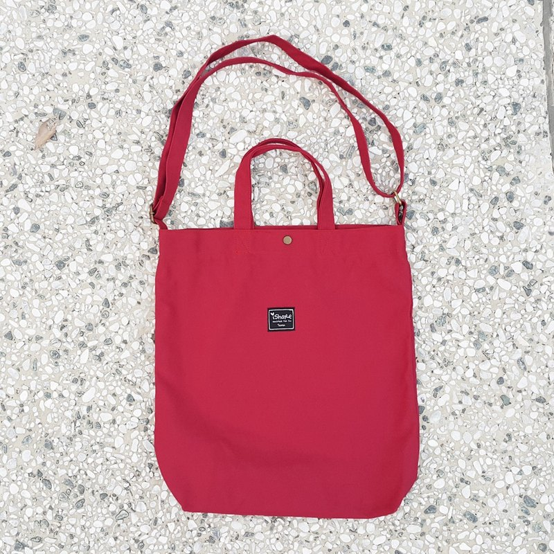 8K with three monochrome tote bag - dark red (portable oblique shoulder tutorial / book / messenger bags)