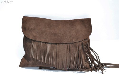 COWFT brown suede fringed bag 2way lines deep internal flaws [5 discount]