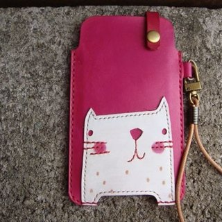 [ISSIS] pink collage of small white hand-made cell phone holster