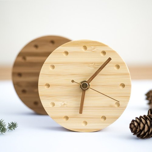 1/3 - bamboo can adsorption / wall / table stand clock (no alarm clock) | Taiwan Country | unique | Handmade Gifts |