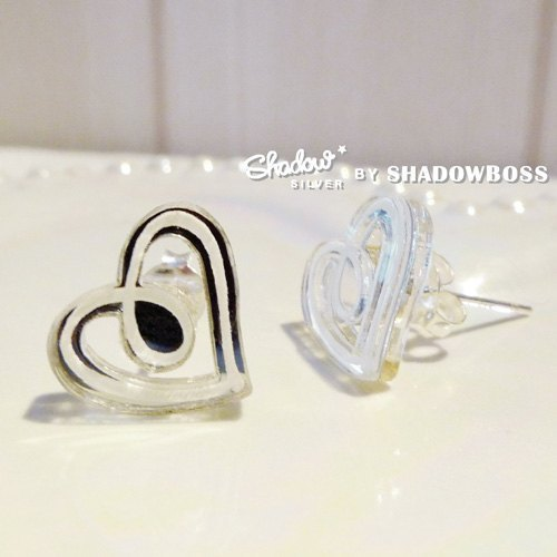 Shadow * silver graffiti series _ Heart to Heart Sterling Silver earrings ear pin (s)