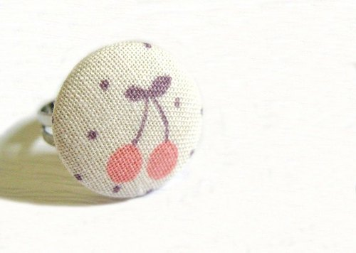 Hand-made cloth buttons Ring Cherry