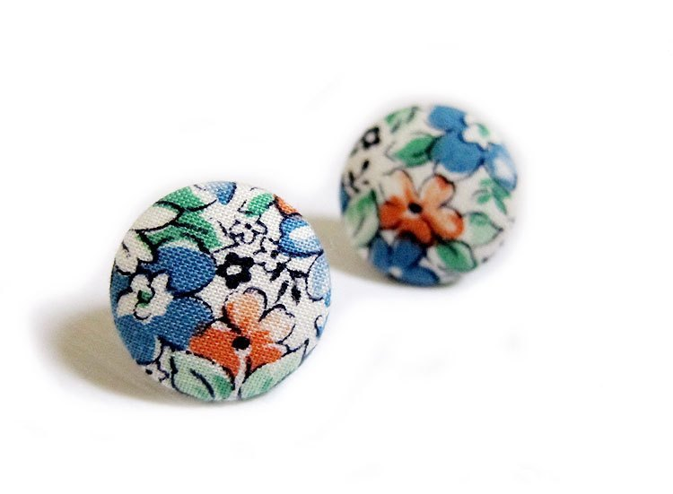 Cloth button blue flower earrings clip-on earrings can do