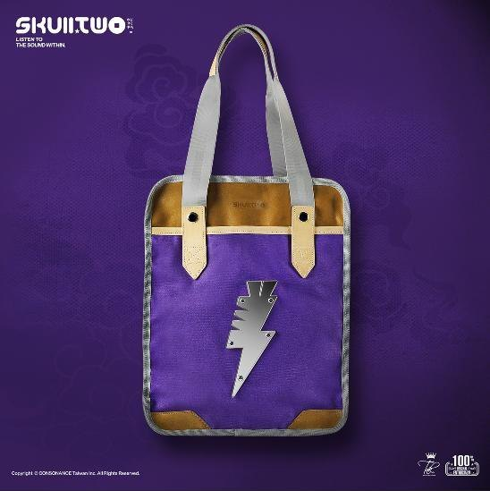 [SKUllTWO rabbit skull canvas with leather shoulder bag] silver steel lightning leather stitching leather + canvas ons ale
