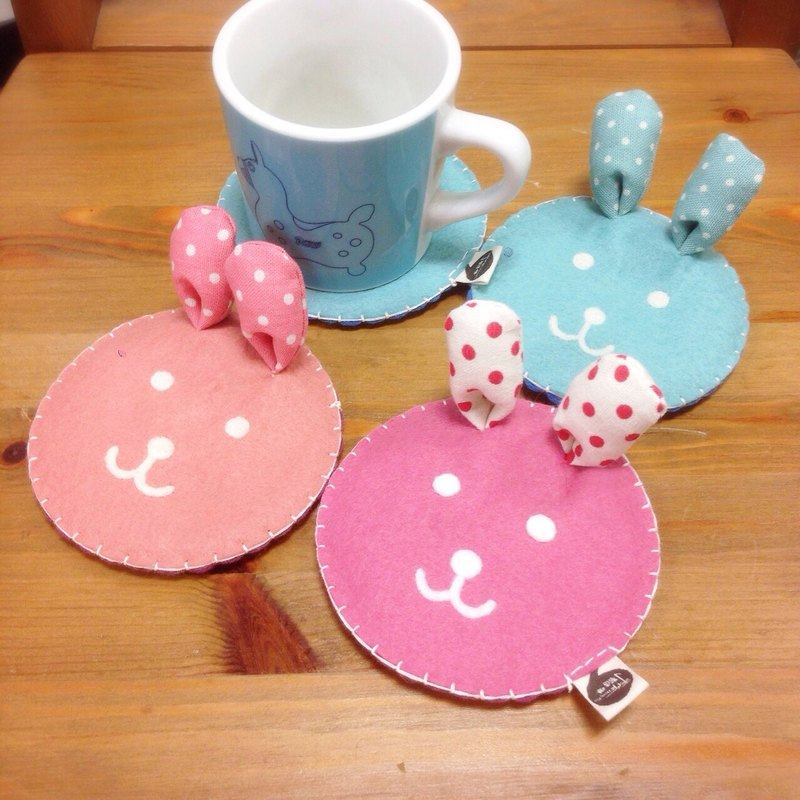 Healing system. Cheerful rabbit handmade coasters (a total of three colors)