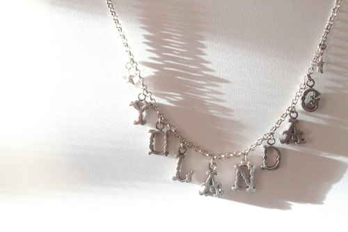 MY Initial Series ~ Silver name necklace lucky stars Baroque