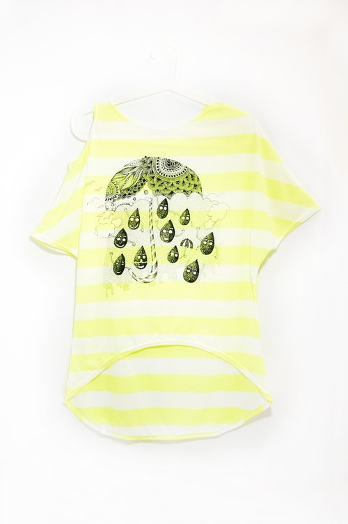 Great feel strapless striped single travel T - rainy season celebration (sun fluorescent yellow)