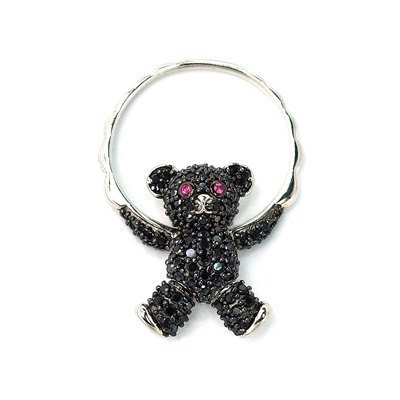 Free postage [Hong Kong] timeless design Winnie black amphibole 925 Silver Ring / Pendant with items rope