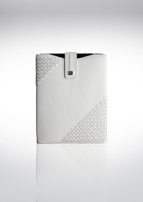 [Father's Day gift] designer models - Weaving series handmade leather iPad - White