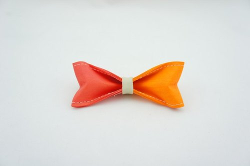 Paper Bow Tie - two color (orangered orange ) -No.201
